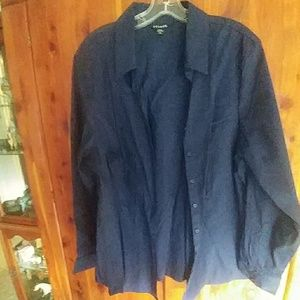 Women's dark blue button up dress blouse.
